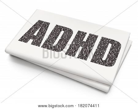 Medicine concept: Pixelated black text ADHD on Blank Newspaper background, 3D rendering