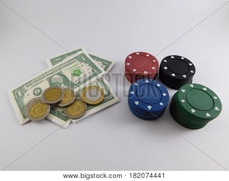 Game of bet with chips and money