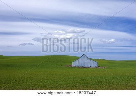 Metal barn on the Palouse of eastern Washington.