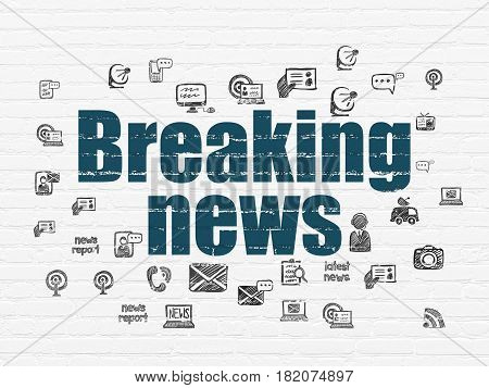 News concept: Painted blue text Breaking News on White Brick wall background with  Hand Drawn News Icons