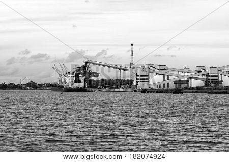 Maritime transportation industry. Mineral transshipment at port.