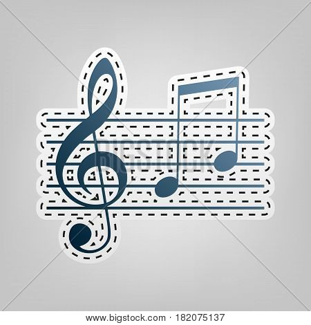 Music violin clef sign. G-clef and notes G, H. Vector. Blue icon with outline for cutting out at gray background.