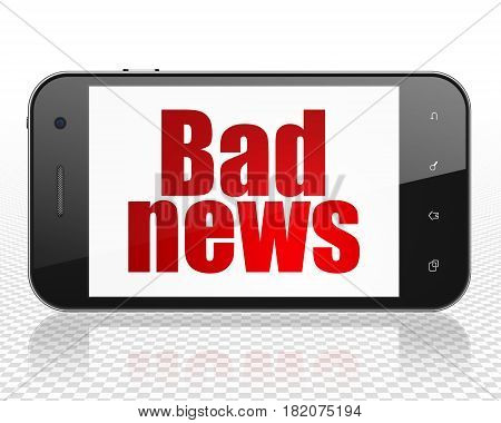 News concept: Smartphone with red text Bad News on display, 3D rendering