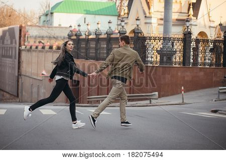 True Love Emotions Of Joyful Cute Couple Enjoying Time Together Outdoor In City. Lovely Happy Moment