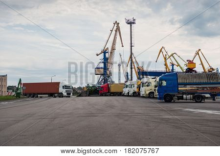 Maritime transportation industry.  Container transshipment in the port.