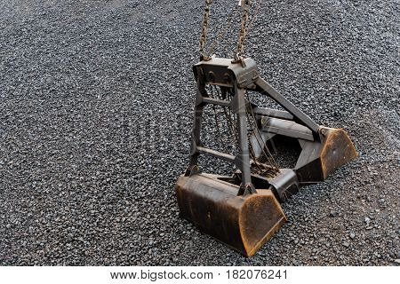 Maritime transportation industry. Coal and coal crane bucket.