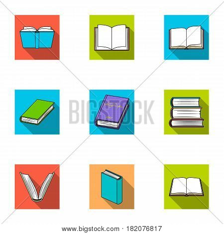 A set of pictures with books. Books, notebooks, studies. Books icon in set collection on flat style vector symbol stock web illustration.