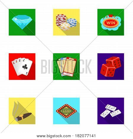 The set of symbols casino games. Gambling for money. Chips, dominoes, casino. Casino and gambling icon in set collection on flat style vector symbol stock web illustration.