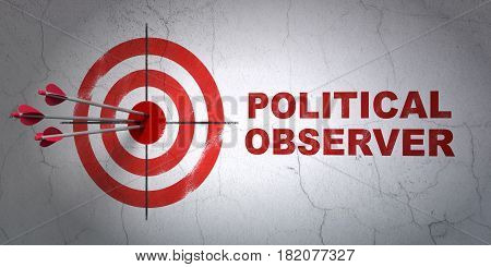 Success political concept: arrows hitting the center of target, Red Political Observer on wall background, 3D rendering