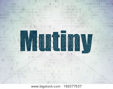 Political concept: Painted blue word Mutiny on Digital Data Paper background