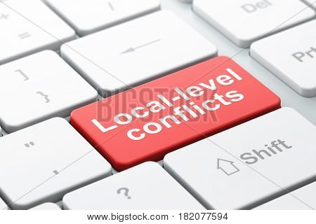 Political concept: computer keyboard with word Local-level Conflicts, selected focus on enter button background, 3D rendering