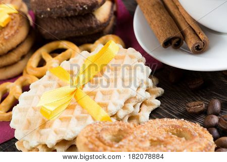Cookies and biscuits for celebration on wooden table