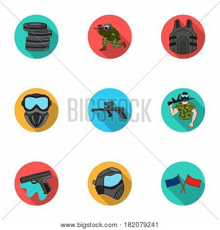 A collection of pictures about the game in paintball. The balloons with paint.Paintball icon in set collection on flat style vector symbol stock web illustration.