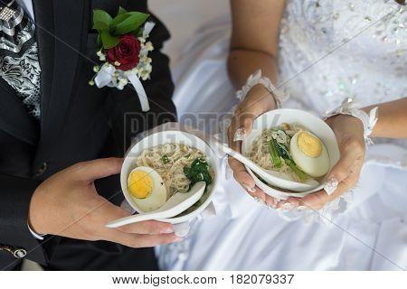 Wedding marriage ceremony misua noodle with egg.