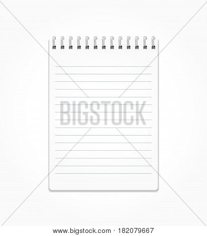 Realistic notepad. Notepad with white sheets in a line on a spiral. Notebook, notepad Isolated on white vector