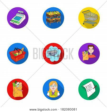 Supermarket, shopping in the store. A selection of pictures on the topic of shopping.Supermarket icon in set collection on flat style vector symbol stock web illustration.