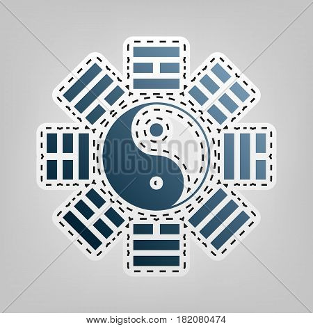 Yin and yang sign with bagua arrangement. Vector. Blue icon with outline for cutting out at gray background.