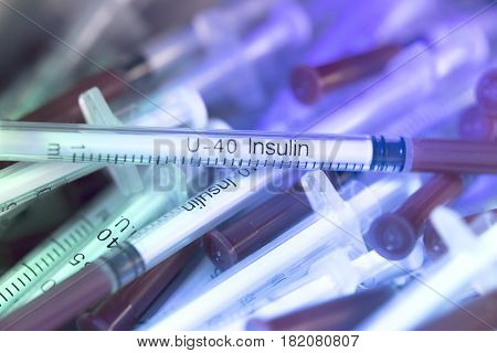 Syringes On Colorful Background Unfocused