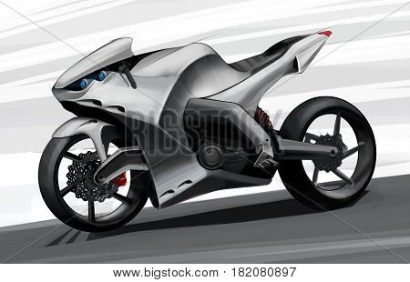 The concept of a sports road super bike. Drawing by hand. Illustration.