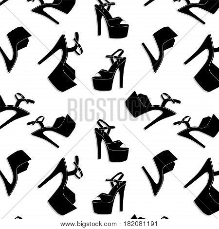 Vector pole dance sexy shoes. High heels pattern for striptease, Striped black yellow exotic dancer boots. Silhouette adult erotic shoes print decoration