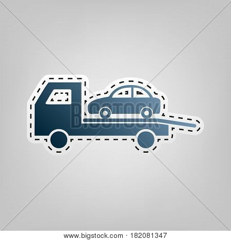 Tow car evacuation sign. Vector. Blue icon with outline for cutting out at gray background.