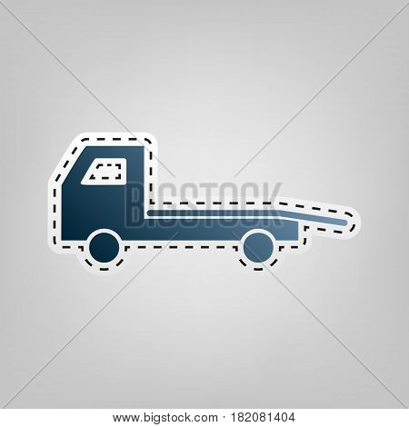 Service of evacuation sign. Wrecking car side. Car evacuator. Vehicle towing. Vector. Blue icon with outline for cutting out at gray background.