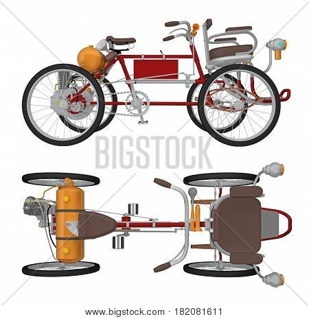 Four wheeled cycle isolated on white. 3d rendering