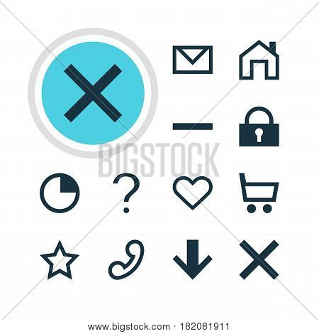 Vector Illustration Of 12 Interface Icons. Editable Pack Of Asterisk, Padlock, Wrong And Other Elements.