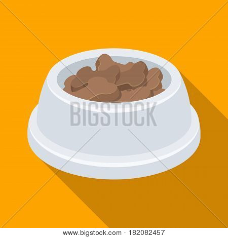 Bowl with food.Pet shop single icon in black style vector symbol stock illustration .