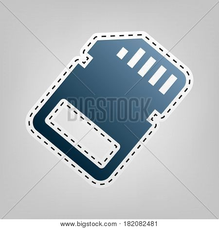 Memory card sign. Vector. Blue icon with outline for cutting out at gray background.