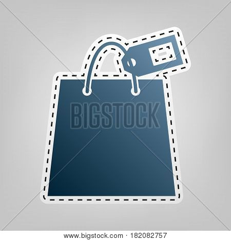 Shopping bag sign with tag. Vector. Blue icon with outline for cutting out at gray background.
