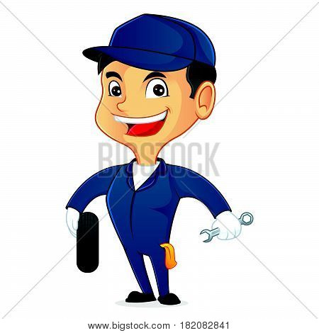 Mechanic Holding Tire And Tool