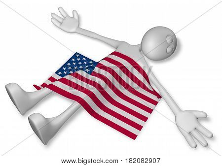 dead cartoon guy and flag of the usa - 3d illustration
