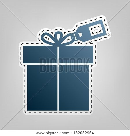 Gift sign with tag. Vector. Blue icon with outline for cutting out at gray background.