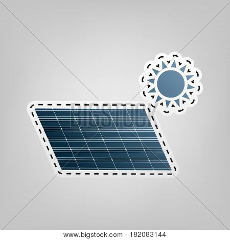 Solar energy panel. Eco trend concept sign. Vector. Blue icon with outline for cutting out at gray background.