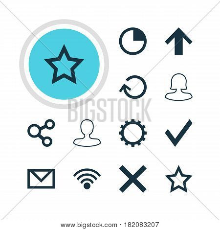 Vector Illustration Of 12 User Icons. Editable Pack Of Publish, Top, Asterisk And Other Elements.