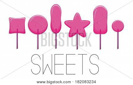 Vector sugar candies isolated on white background. Pink sweets with air bubbles on stick. Delicious pinky glossy caramel dessert