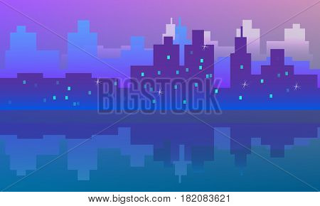 Vector Drawn Cityscape With Reflection At Night.