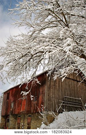 Abandoned red barn on a winter day
