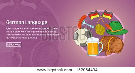 German language horizontal concept. Cartoon illustration of german language banner horizontal vector for web