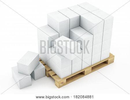 3D Pallet Of Breeze Blocks