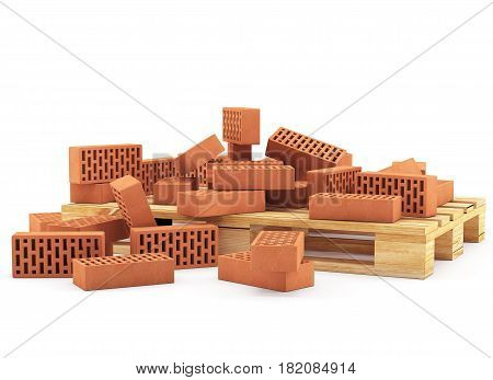 3D Orange Bricks On Pallet