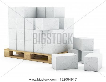 3D Pallet Of Breeze Blocks