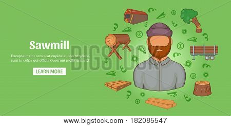 Sawmill banner horizontal concept. Cartoon illustration of sawmill banner horizontal vector for web