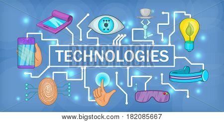 Future tech banner horizontal concept. Cartoon illustration of future tech banner horizontal vector for web