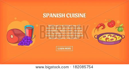 Spanish cuisine banner horizontal concept. Cartoon illustration of spanish cuisine banner horizontal vector for web