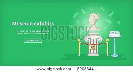 Museum banner horizontal concept exhibit. Cartoon illustration of museum exhibit banner horizontal vector for web