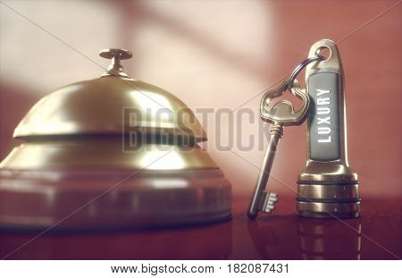 3D illustration. Luxury hotel key and vintage golden bell on the wooden table of the lobby service.