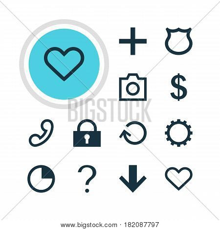 Vector Illustration Of 12 User Icons. Editable Pack Of Snapshot, Help, Padlock And Other Elements.