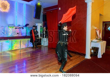 April 01 2017 Newyork Ny Usa: Georgian Dancers Dancing A Folklore Dance Show On Stage